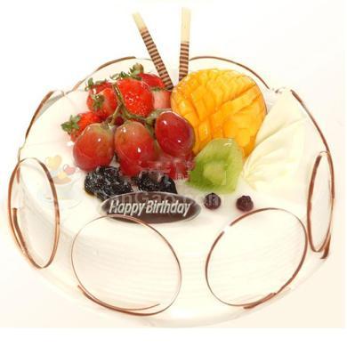 �A形的�r奶水果蛋糕/�S收的果��(8寸)
