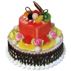 二层艺术蛋糕/浪漫心情: 底层10寸,上层6寸二层艺术蛋糕,上层为果膏,下层为巧克力新鲜美味.
