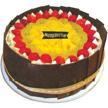 圓形鮮奶水果蛋糕/快樂之家(8寸)