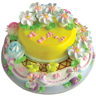 双层圆形鲜奶蛋糕/比翼双飞