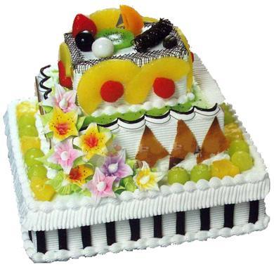 三層方形鮮奶水果蛋糕/浪漫小屋(14寸)