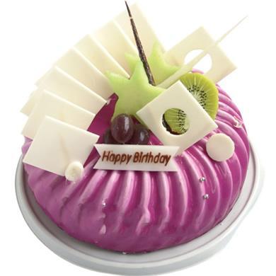 圆形鲜奶水果蛋糕/紫色梦幻(8寸)