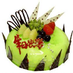 圆形鲜奶水果蛋糕/绿色家园(8寸)