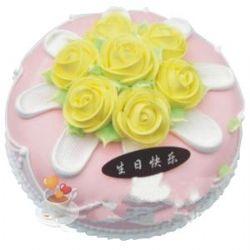 圆形鲜奶蛋糕/黄色温情(8寸)