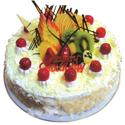圆形鲜奶水果蛋糕/花季心语(8寸)