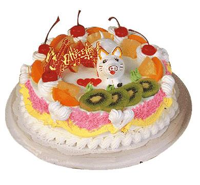 植物鲜奶蛋糕/可爱猪仔(8寸)