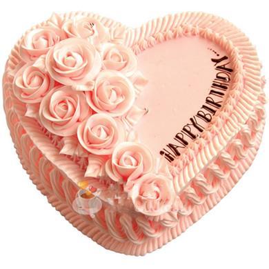 粉色心形鲜奶蛋糕/心中的爱(8寸)-订花人鲜花速递