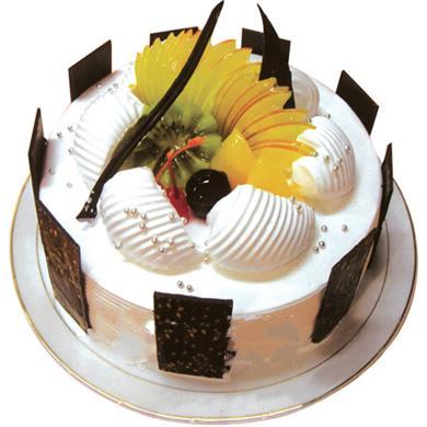 圆形鲜奶水果蛋糕/白色庄园(8寸)