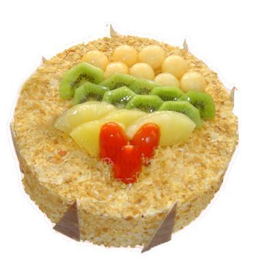 圓形鮮奶水果蛋糕/幸福一生(8寸)