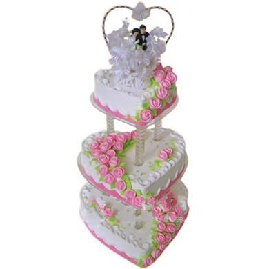 三层心形鲜奶蛋糕/幸福到永远(14寸)