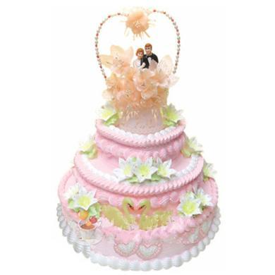 三層圓形鮮奶蛋糕/甜甜蜜蜜(14寸)