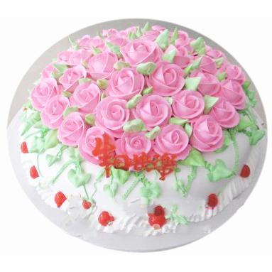 圆形鲜奶蛋糕/花团锦簇(8寸)