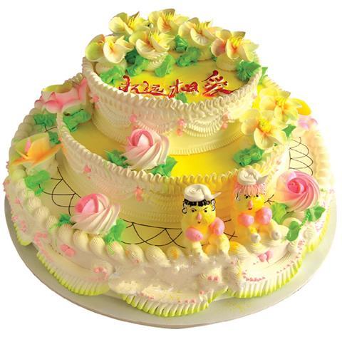 三層圓形鮮奶蛋糕/永遠相愛(14寸)