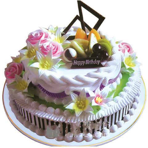 双层圆形水果蛋糕/春暖花香(10寸)
