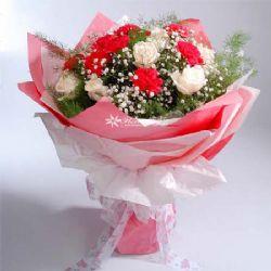 10朵红色康乃馨/妈妈叮咛: 8朵白玫瑰 10朵红色康乃馨 黄莺(配花) 满天星(配花)