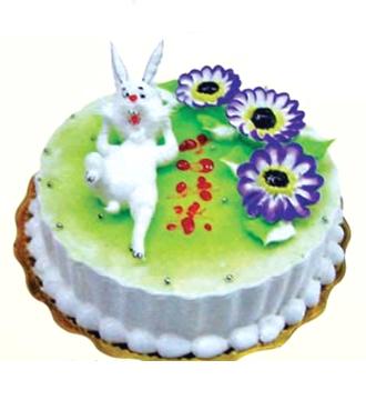 名 称:生肖蛋糕/小兔生日快乐  花 材:鲜奶生肖蛋糕:装饰可爱小白兔