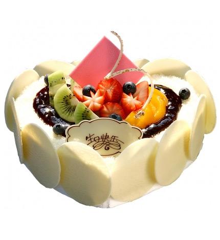 心形鲜奶水果蛋糕/今生与你相伴