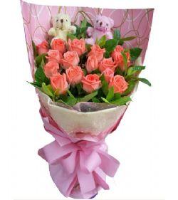 19枝粉玫瑰/真诚的爱