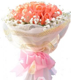 19枝粉玫瑰/可�酃媚�