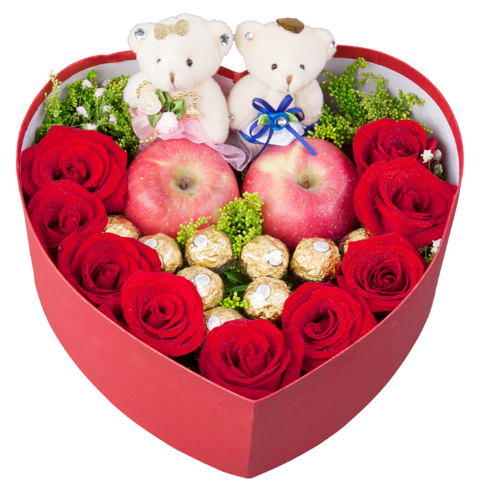 【圣诞鲜花/9红玫瑰+9巧克力+2小熊】情深意浓