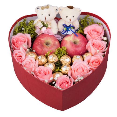 【圣诞鲜花/9白玫瑰+9巧克力+2小熊】情深意浓