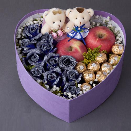 【圣诞鲜花/11朵蓝玫瑰+9巧克力+2小熊】情深意浓