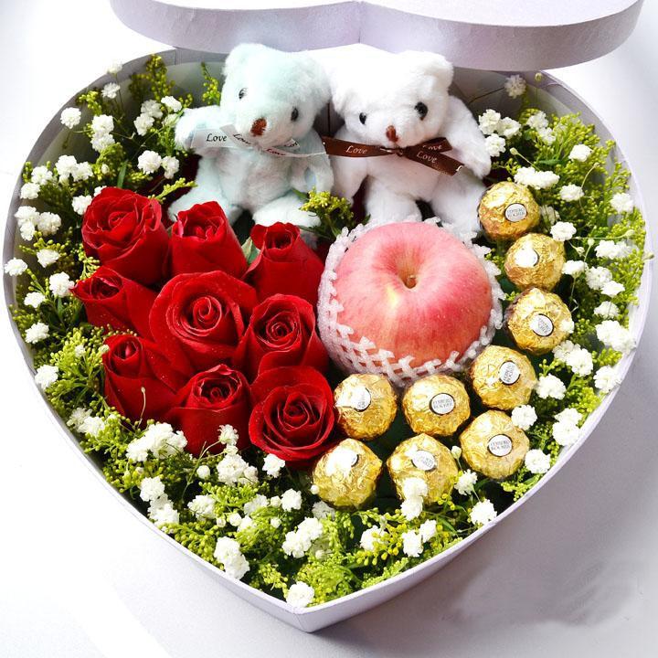 【圣�Q�r花/9�t玫瑰+9巧克力+2小熊】情深意��