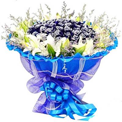 ��坌��/99朵�{玫瑰: 99朵�{玫瑰,9朵多�^白百合,情人草���(�{玫瑰是特殊花材,要提前天3左右咨�客服�A定)