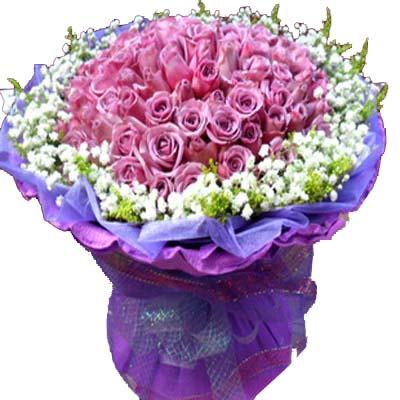 心有灵犀/99朵紫玫瑰: 99朵紫玫瑰,外围满天星,绿材(紫玫瑰是特殊花材,要提前天3左右咨询客服预定)