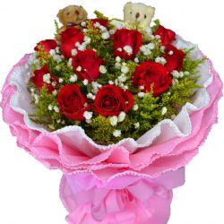 幸福的绽放/11朵红玫瑰