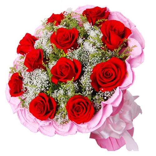 �勰阋惠�子/11朵�t玫瑰