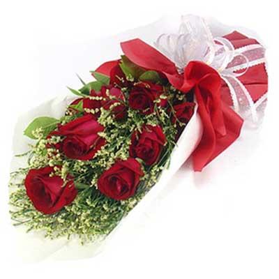 想念/9朵红玫瑰: 9朵红玫瑰,情人草绿叶点缀