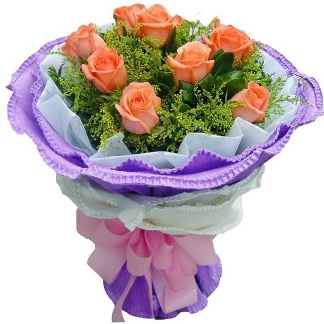 溫馨關懷/9朵粉玫瑰: 9朵粉玫瑰,黃鶯,綠葉搭配