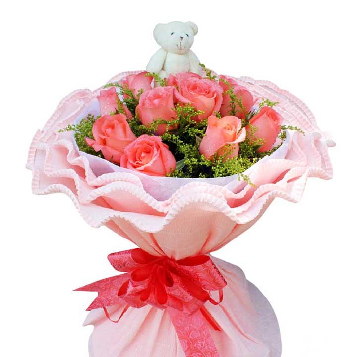 一心一意/11朵粉玫瑰