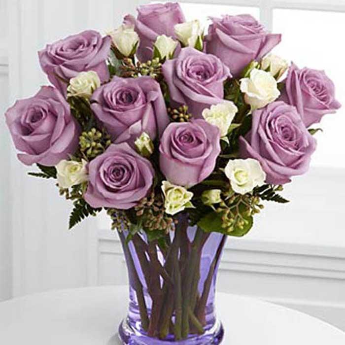 幸福無限/12朵紫玫瑰: 12朵紫玫瑰,綠葉豐滿,多頭玫瑰或者其他配花點綴