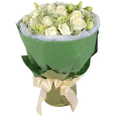 勿忘我/12朵白玫瑰