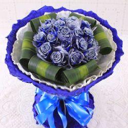 相遇的日子/22朵蓝玫瑰: 22朵蓝不折不扣,每枝独立包装、巴西叶外围(蓝玫瑰是特殊花材,要提前天3左右咨询客服预定)