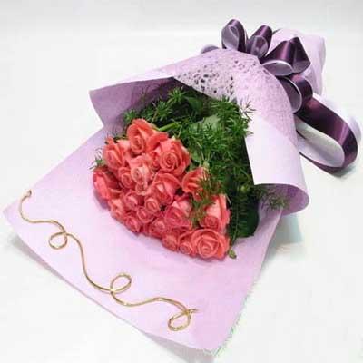 爱/20朵粉玫瑰: 20朵粉玫瑰,天门冬衬叶