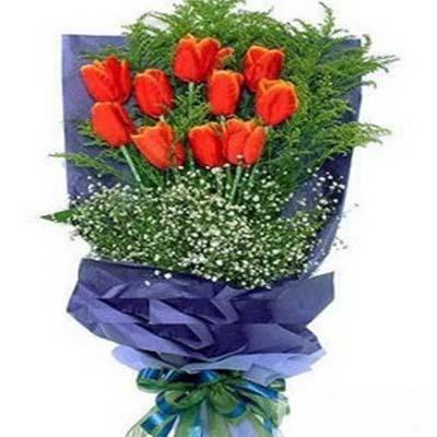 思念的天空/10朵郁金香: 10朵橙色郁金香,�c�Y�S�L、�M天星(由于郁金香是季�性�r花,��前�和在�客服�系�_保有�)