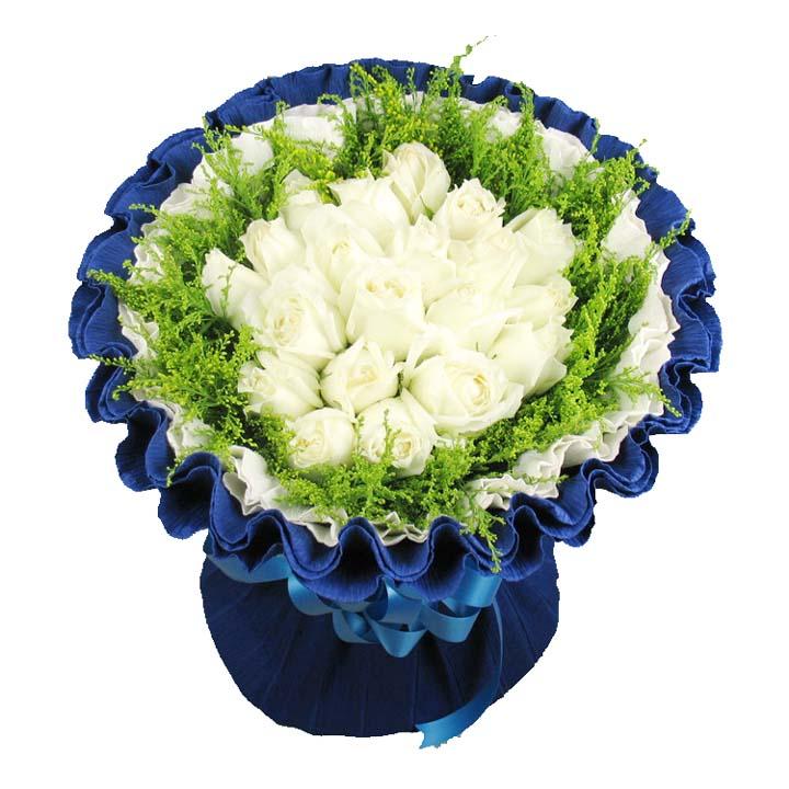 最爱/33朵白玫瑰: 33朵白玫瑰,配黄莺水晶草等配花