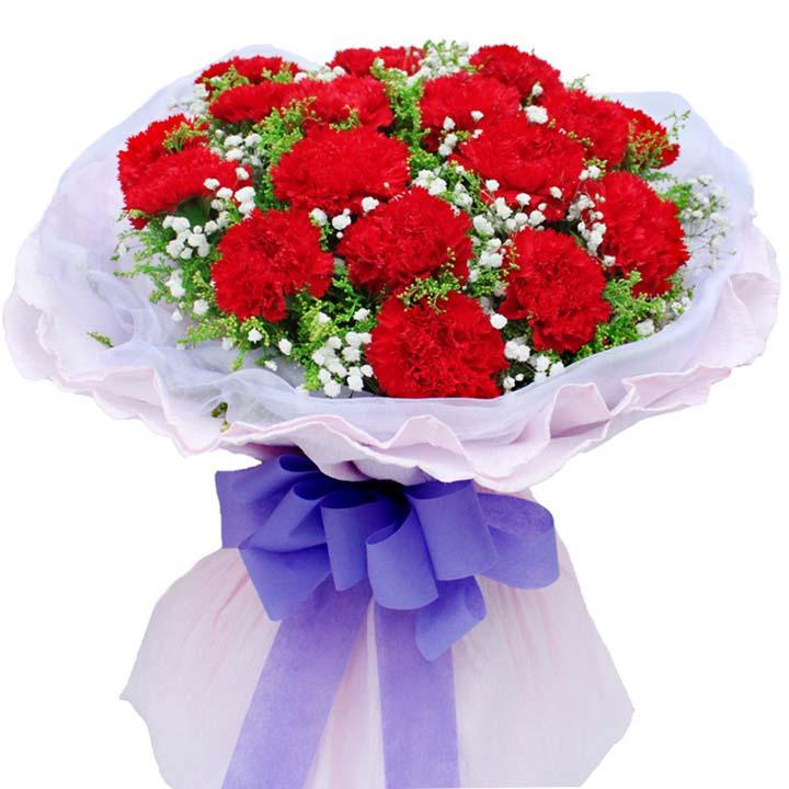 幸福相伴/19朵康乃馨: 19朵紅色康乃馨,間插滿天星、黃鶯