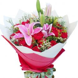 无私的关怀/19朵康乃馨: 19朵红色康乃馨,2枝多头粉色百合,搭配水晶草,黄莺