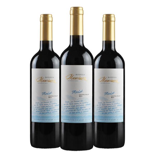 智利进口红酒 马里切斯梅乐干红葡萄酒 750ML*3