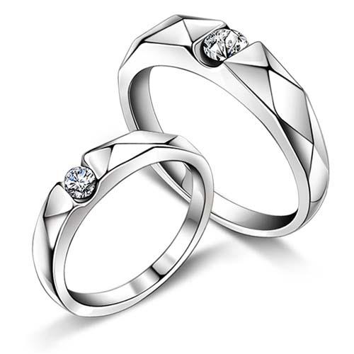纯银戒指/银菱纯银情侣对戒