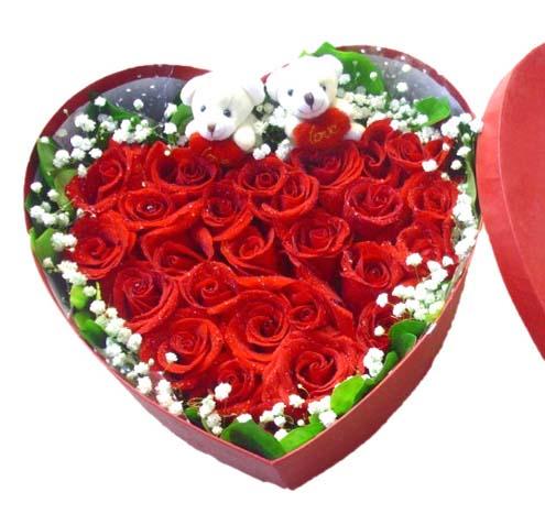 【礼盒鲜花/22朵红玫瑰】心有灵犀