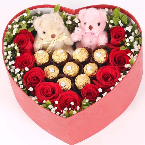 【礼盒鲜花/9红玫瑰+9巧克力+2小熊】情深意浓