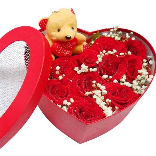 【礼盒鲜花/11朵红玫瑰+小熊】心有千千结