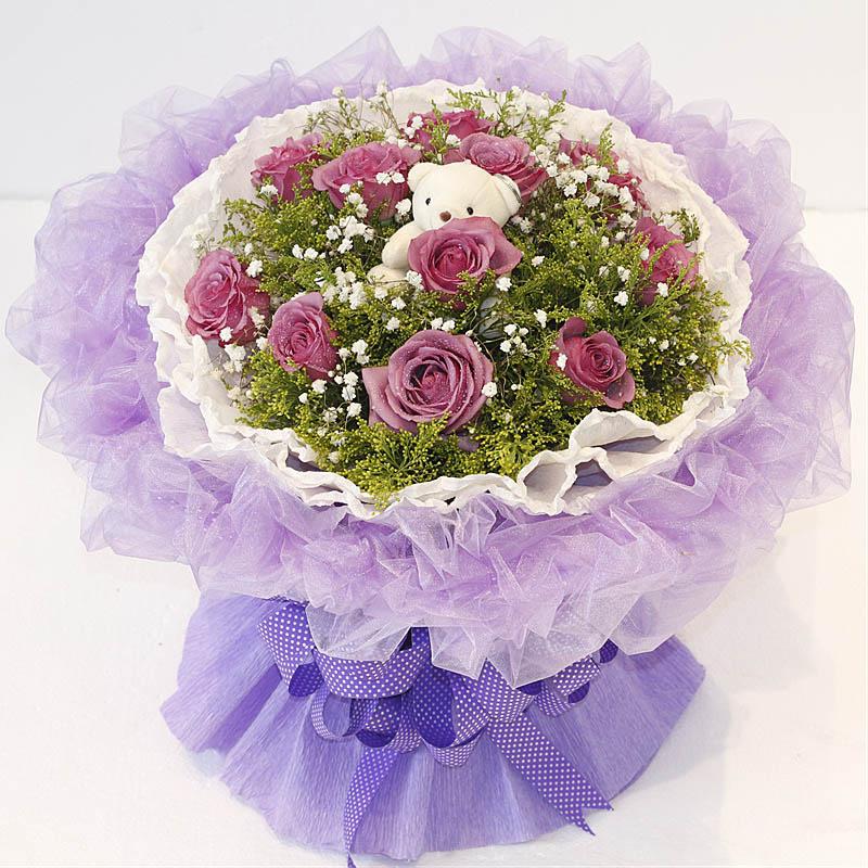 紫情紫意/11朵紫玫瑰+小熊