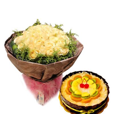 鲜花蛋糕组合/香槟玫瑰+水果蛋糕(33朵+8寸)