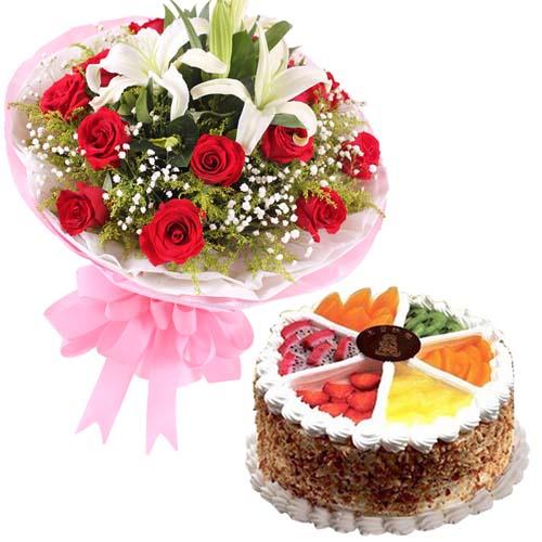 鲜花蛋糕组合/11朵粉玫瑰+3只百合+水果鲜奶蛋糕8寸